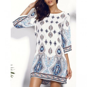 Breezy White Geo Pattern Dress