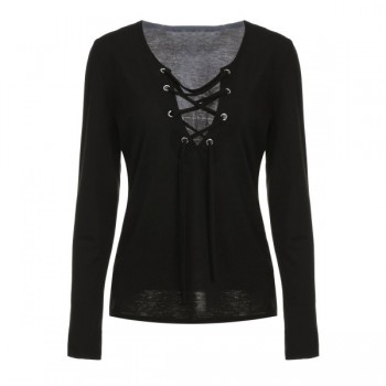Plunge Lace Up Neckline Top